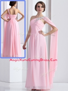 Elegant One Shoulder Baby Pink Homecoming Dress with Ruching and Beading