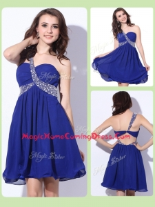 Fashionable One Shoulder Criss Cross Homecoming Dresses with Beading