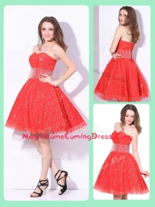 Luxurious Sweetheart Beading Homecoming Dress in Red for Fall