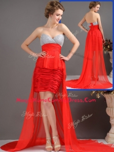 Most Popular Column High Low Homecoming Dresses with Beading