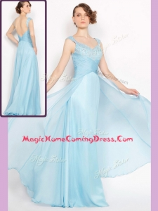 New Style Empire Brush Train Light Blue Homecoming Dresses with Beading