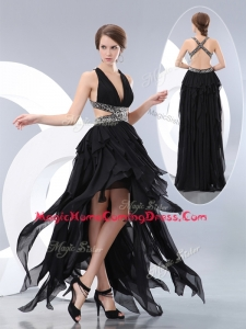 New Style V Neck High Low Homecoming Dresses in Black