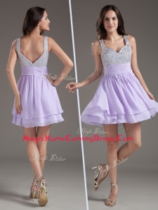Simple Straps Mini Length Lavender Homecoming Dress with Beading
