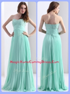 2016 Empire Beading and Sequins Apple Green Homecoming Dresses with Brush Train
