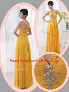 Beautiful Empire One Shoulder Beading Orange Homecoming Dresses for Holiday