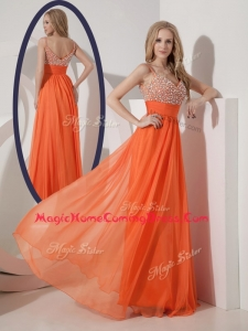 Classical Empire Spaghetti Straps Beading Homecoming Dress