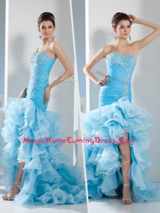 Gorgeous Mermaid Sweetheart Ruffled Layers Homecoming Dress in Aqua Blue