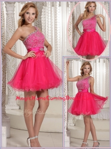 Gorgeous One Shoulder Beading Short Homecoming Dresses for 2016
