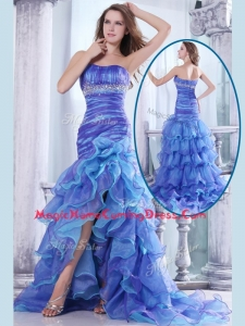 Hot Sale Column Sweetheart High Low Beading and Ruffled Layers Homecoming Dresses