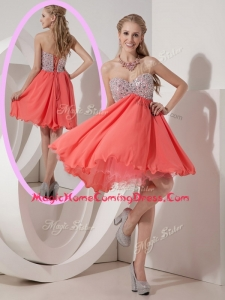 Lovely Sweetheart Mini Length Beading Homecoming Dress for Homecoming