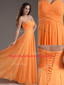 Low Price Sweetheart Floor Length Ruching Homecoming Dress in Orange