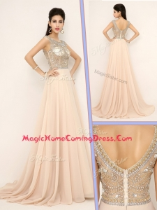Pretty Empire Bateau Brush Train Homecoming Dresses with Beading