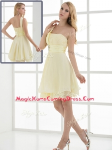 Pretty Short One Shoulder Beading and Belt Homecoming Dresses for Summer