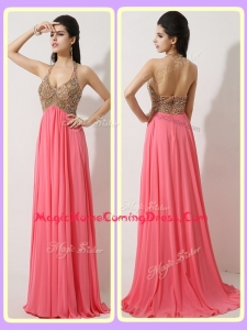 The Most Popular Halter Top Brush Train Watermelon Red Homecoming Dresses