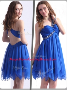 Best One Shoulder Blue Short Homecoming Dresses with Beading