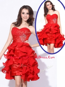 Best Sweetheart Red Short Homecoming Dresses with Beading and Ruffles