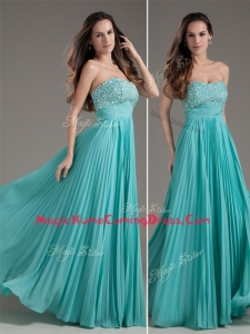 Classical Empire Strapless Turquoise Long Homecoming Dress