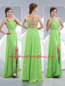 Elegant One Shoulder Spring Green Homecoming Dresses with High Slit