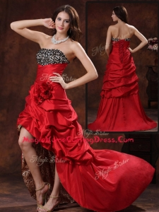Gorgeous High Low Strapless Homecoming Dress With Hand Made Flowers