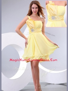 Lovely Short One Shoulder Beading and Belt Homecoming Dress