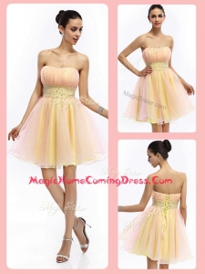 Lovely Short Strapless Lace Up Homecoming Dresses with Beading and Ruching