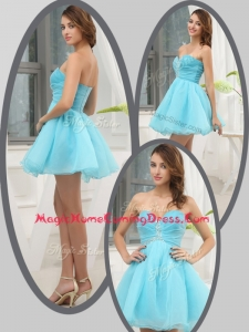 Lovely Sweetheart Beading Short Homecoming Dress in Aqua Blue for 2016