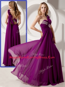 Luxurious One Shoulder Hand Made Flowers Homecoming Dresses with Beading