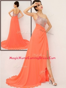 Luxurious One Shoulder Homecoming Dresses with High Slit and Sequins