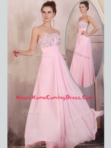 Gorgeous Empire Sweetheart Beading Baby Pink Homecoming Dress