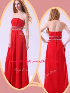 Simple Empire Strapless Red Homecoming Dresses with Beading