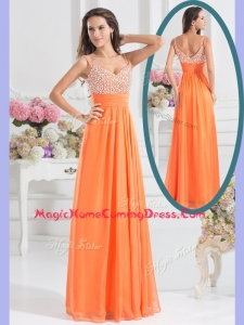 Best Empire Spaghetti Straps Beading Homecoming Dress for Fall