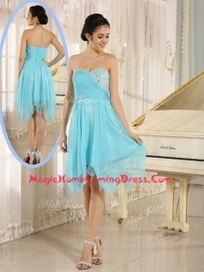 Cheap Asymmetrical Sweetheart Beading Short Homecoming Dresses