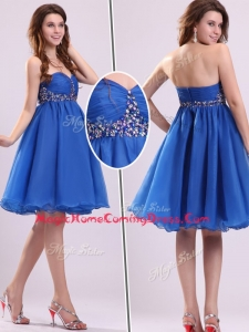 Classical Short Sweetheart Beading Homecoming Dress in Blue