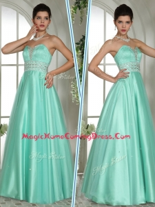 Elegant A Line Sweetheart Beading Homecoming Dresses in Apple Green