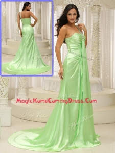 Elegant Column One Shoulder Beading Homecoming Dresses with Brush Train
