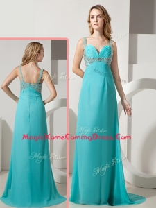 Elegant Empire Straps Beading Turquoise Homecoming Dresses with Brush Train