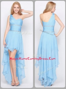 Inexpensive One Shoulder High Low Homecoming Dresses with Beading