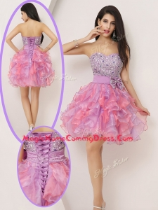 Lovely Short Sweetheart Beading and Bowknot Homecoming Gowns