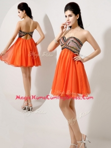 Low Price Short Orange Red Homecoming Dresses with Beading and Sequins