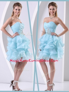 Pretty Mini Length Sweetheart Homecoming Dress with Beading and Ruffles