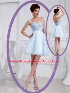 Discount Short Sweetheart Beading Homecoming Dress in Light Blue