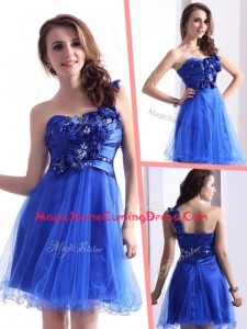 Exquisite One Shoulder Homecoming Dresses with Beading and Hand Made Flowers