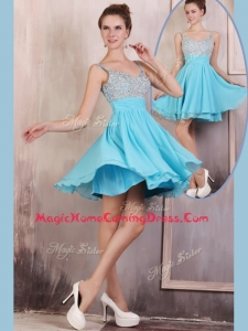 Hot Sale Straps Mini Length Beading Homecoming Dress for Summer