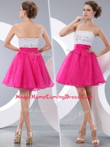 Lovely Princess Strapless Short Homecoming Dresses with Beading
