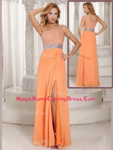 Luxurious One Shoulder Beading Homecoming Dress with Side Zipper