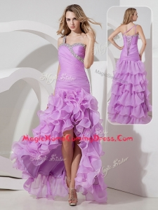 Perfect Column High Low Homecoming Dress with Ruffled Layers