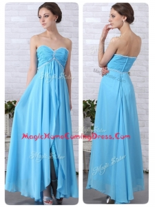 Pretty Empire Sweetheart Slit Homecoming Dresses in Aqua Blue