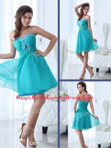 Pretty Short Sweetheart Beading Homecoming Dress in Turquoise