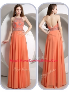 Romantic Empire Halter Top Orange Homecoming Dresses with Beading
