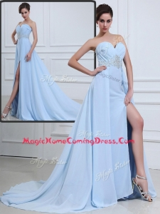 The Super Hot Brush Train Sweetheart Beading Homecoming Dresses in Light Blue